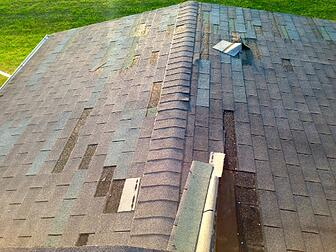 Asphalt shingles missing
