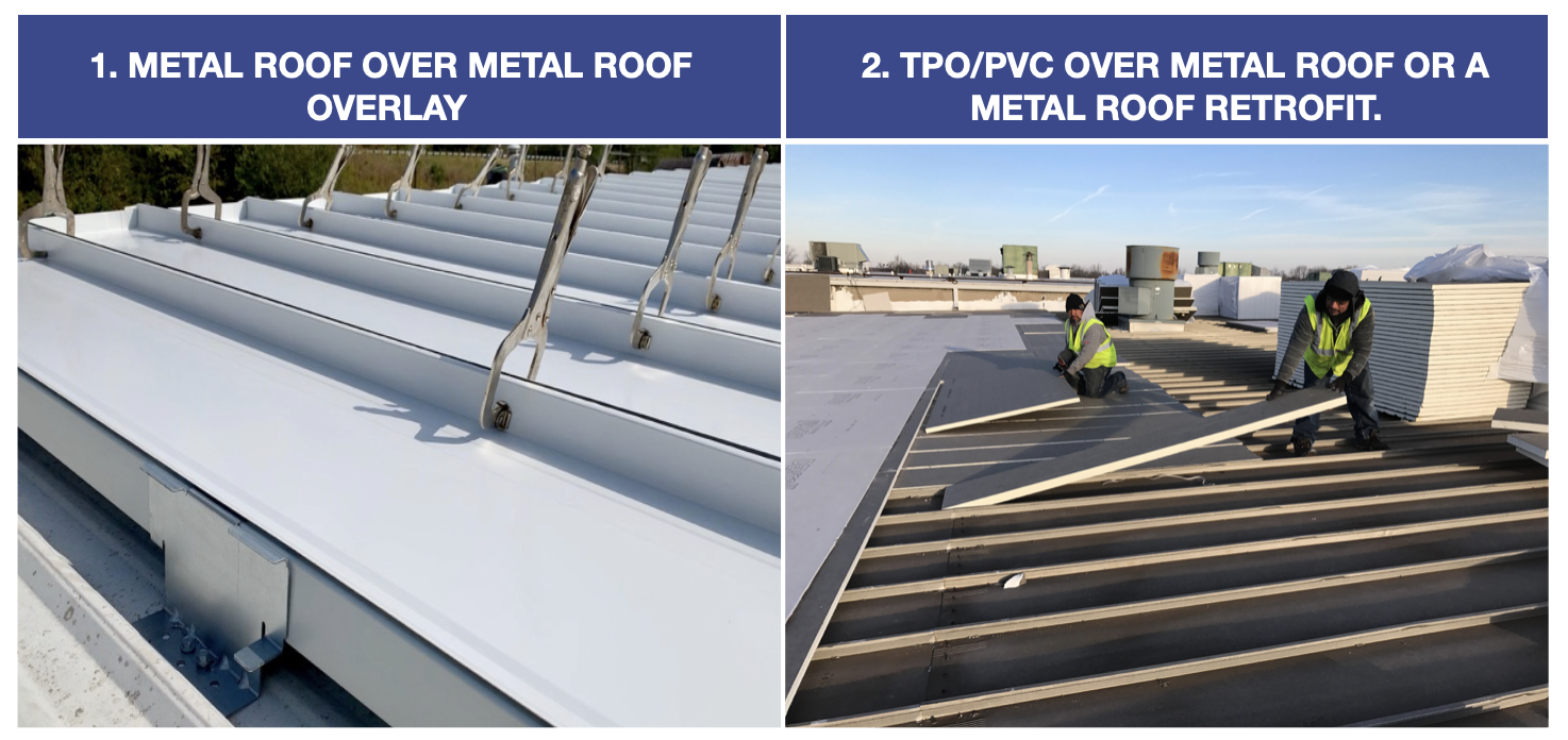 metal roof over meal roof overlay