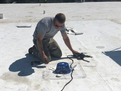 Flat Roof Repair Retrofit Roof Drain Welding- Absac