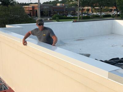 Arbys Metal Coping Installation Flat Roof Repair Parapet Wall-Collierville
