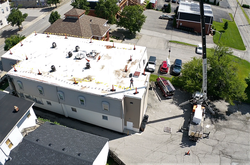 Flat Roof Repair Crane and Job Overview- Louisville