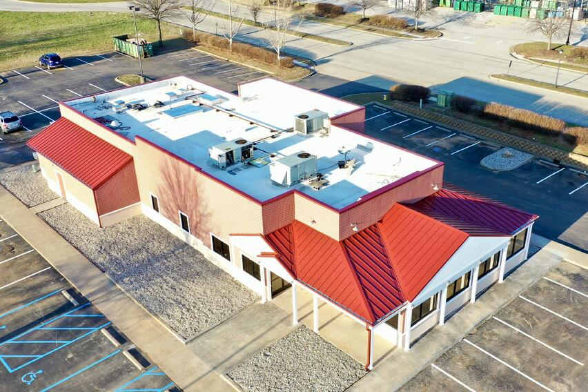 Standing Seam Metal Roof Campbellsville Building with flat roof