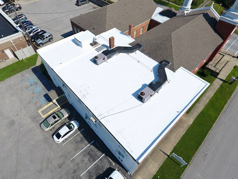 Flat Roof Repair Overhead Angle- First Baptist Church 2.jpg