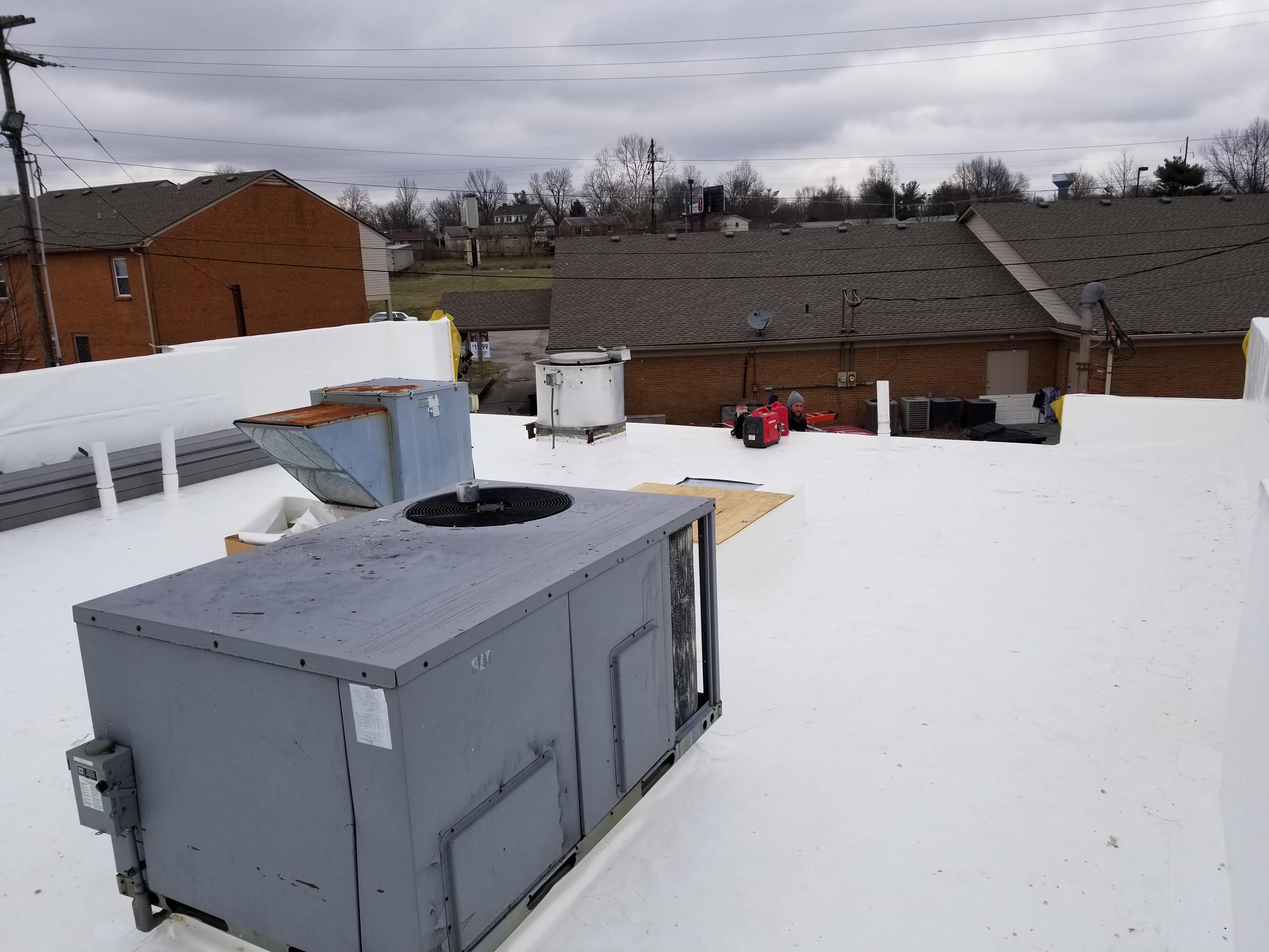 Flat Roof Installation PVC Membrane Completion- Versailles, KY