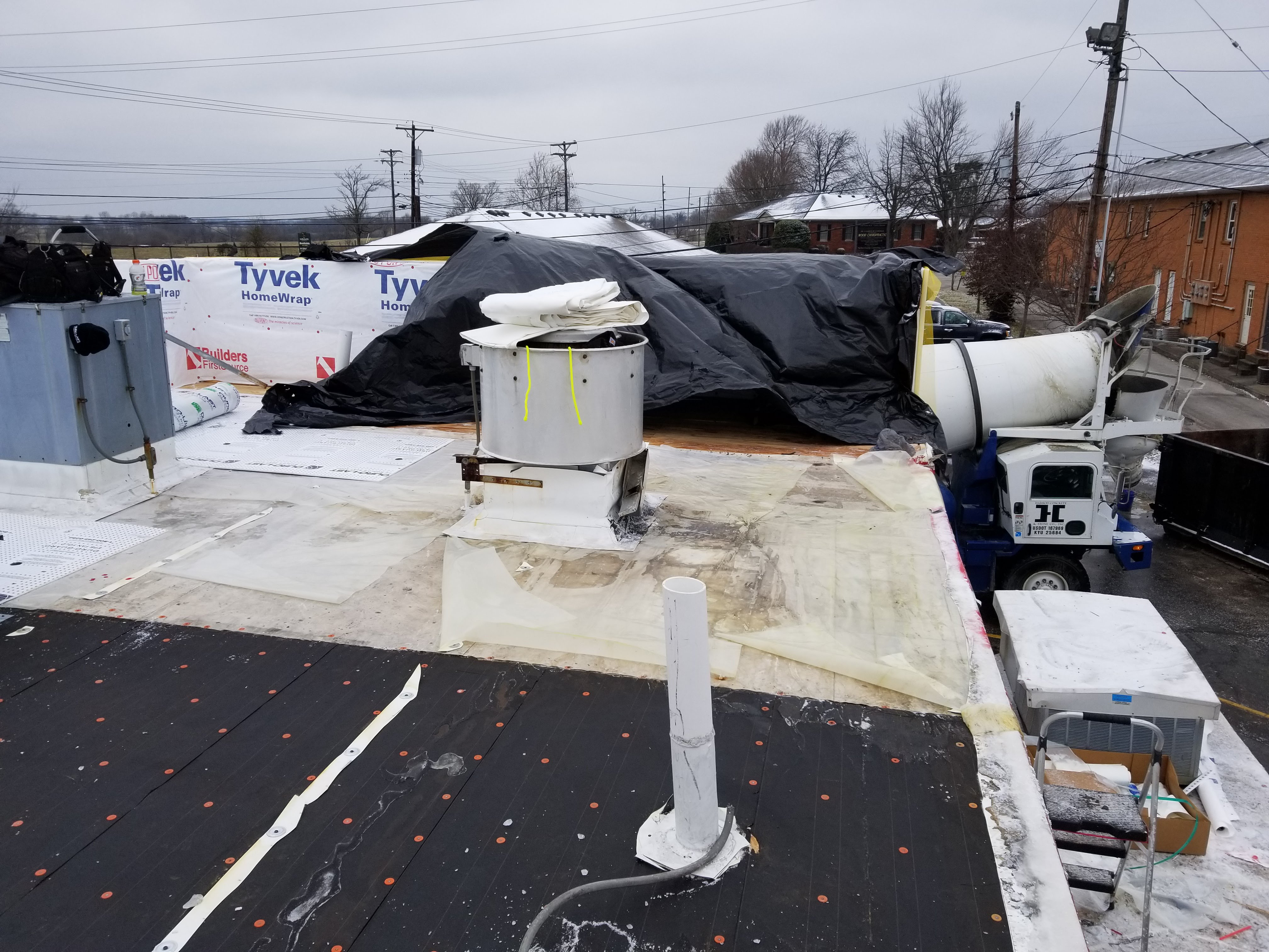 Flat Roof Installation PVC Membrane Roof Vents- Versailles, KY