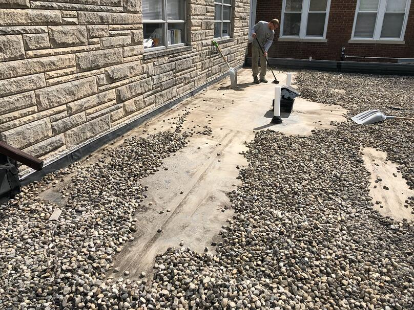 Gravel Removal Flat Roof Repair-Dillsboro