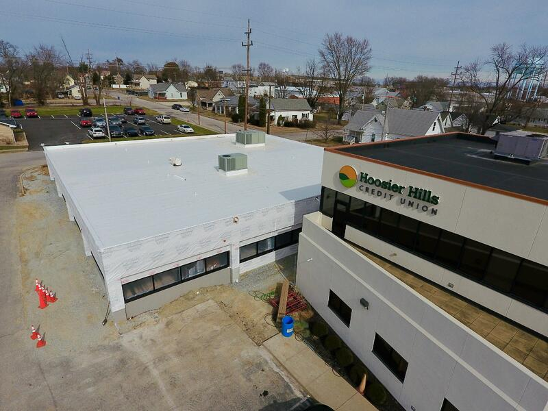 Hoosier Hills Credit Union Flat Roof And Gutter