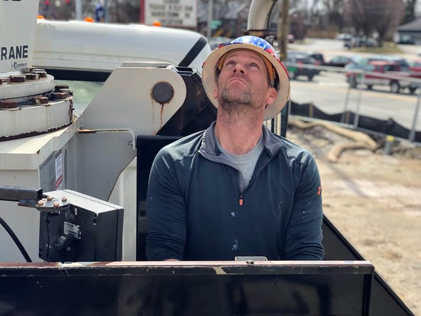 Flat Roof Repair Crane Shot- Louisville