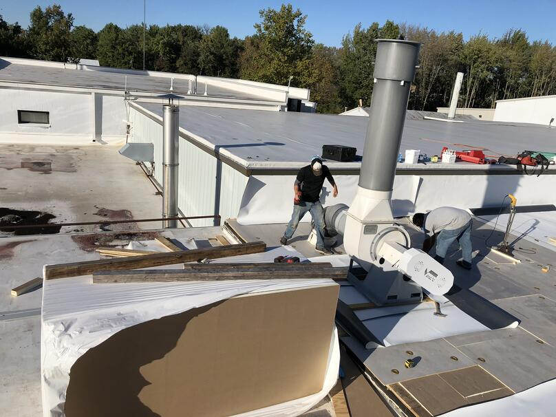 Flat Roof Membrane Installation Parapet Walls- Madison