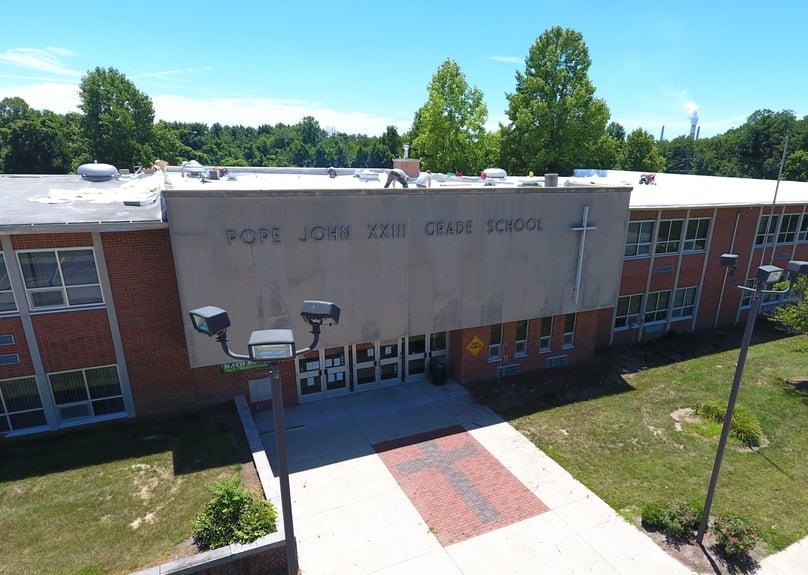 Flat Roof Membrane Installation Metal Coping Installation School-Pope John