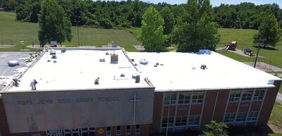 Flat Roof Membrane Installation School-Pope John