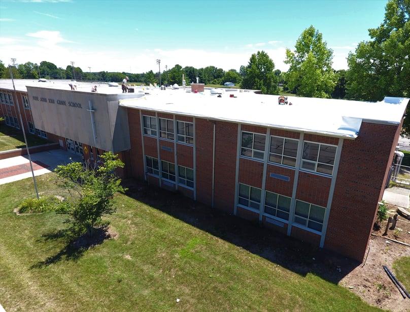 Flat Roof Repair Metal Coping Installation School-Pope John