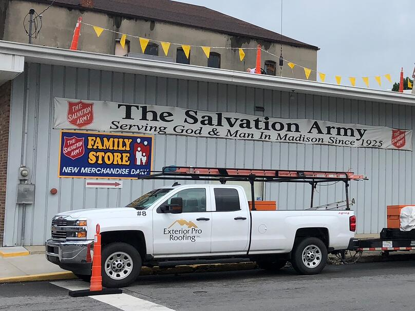 Flat Roof Repair Progress-Salvation Army