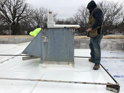 Flat Roof Membrane Installation Welding Vent-Lexington