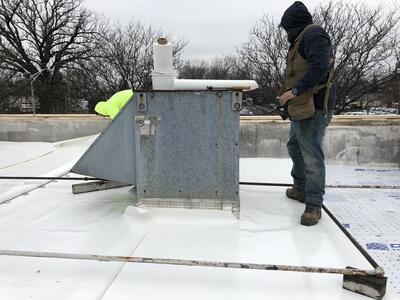 Flat Roof Membrane Installation Welding Vent-Lexington