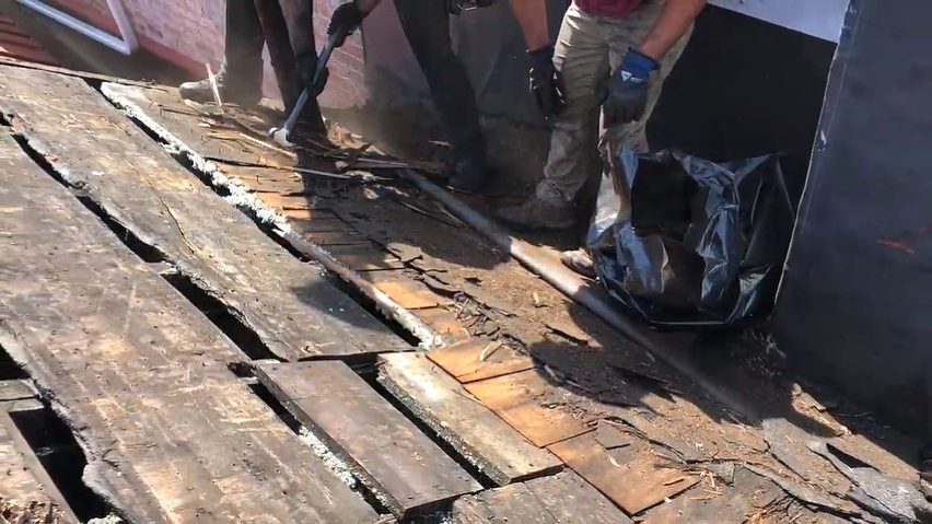 Old Standing Seam metal roof removed